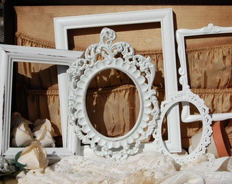 Antique PICTURE FRAMES - Gallery Wall Frame Set - Shabby Chic Farmhouse Collection - Stairway Picture Frame Set - Baby Picture Frames