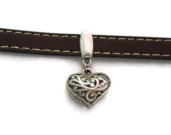 Pearl going for leather 10 mm - Pearl Leather heart silver - colored metal A080