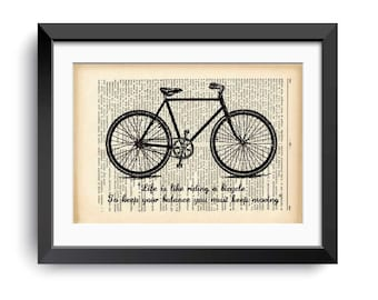 Einstein bicycle quote dictionary print-bicycle print-bicycle on book page-bicycle-bicycle wall art-gift for cyclists-by NATURA PICTA-DP154
