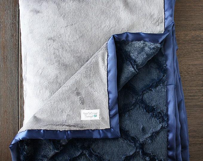 Minky Blanket, Child Blanket, Adult Blanket, navy and grey blanket, lattice, blanket for man, baby boy soft blanket blue and silver, cowboys