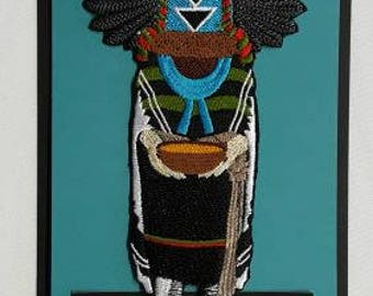 """Crow Mother Dancer Kachina,  Embroidered Patch 3.4""""x.6.8"""""""
