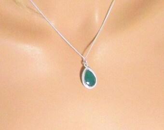 Onyx vert, argent Sterling, goutte collier, pendentif en Onyx, Double faces, longues gouttes, perles en forme de larme, Pierre à facettes, or, argent
