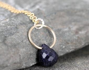 Sapphire Necklace - Blue Sapphire Pendant - Faceted Briolette - Modern Jewellery - 14K Gold Filled - September Birthstone - Blue Gemstone
