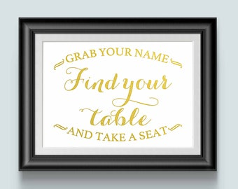 Wedding Seating Signs, Find Your Table, Gold foil, Wedding Reception Ideas, Find Your Name Take a Seat