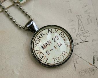 New York Vintage Postmark Necklace - Vintage Postage New York City Necklace - New York Jewelry