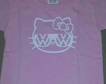 VW T Shirt, shown on a pink t shirt, white design..