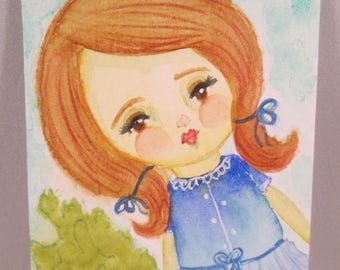 ACEO Original Watercolor Girl Brown Hair Red Lips Blue Dress Pigtails OOAK Gift Ceville Designs