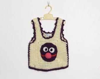 Purple Grover Sweater Vest / Kid's Sesame Street Crochet Pullover / Vintage 70s Children's Sleeveless Sweater / Size 6
