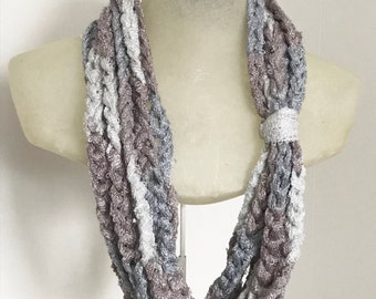 Layered Necklace Crochet Chain Scarf - Lightweight Scarf Necklace - Chunky Chain Scarf Necklace - Spring Fashion Scarf