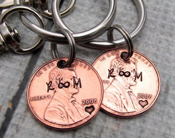 Personalized Couples Keychains - His & Hers Keychains - Hand Stamped Wedding Gift - Personalized Keychain - Personalized Penny Keychain