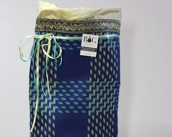 Blue and yellow woven fabric gift bag