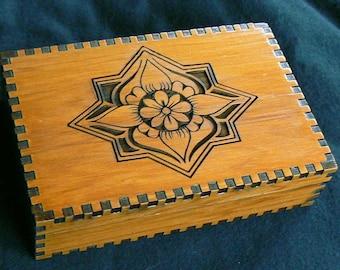 5 7/8 x 3 7/8 Lotus Cedar Tarot Box 4 Depths