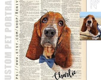 Custom Pet Portrait from photo, Personalized Gift Idea for Pets & Pet Lovers Custom, Art Print dictionary, Custom Pet Art, Painting picture