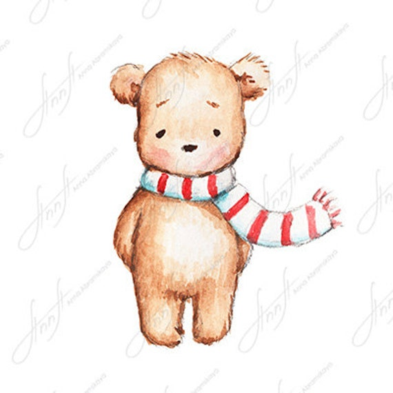 The Drawing Of Cute Teddy Bear With Red And White Scarf