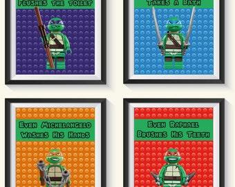 ON SALE! Teenage Mutant Ninja Turtle Bathroom / Bedroom Art Prints, Playroom Decor - Qty 4 TMNT Boys Bathroom