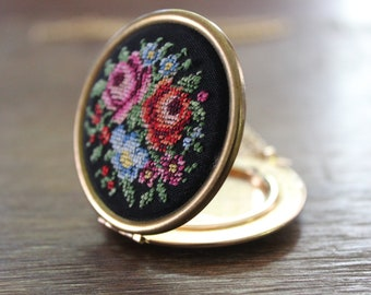 Vintage Floral Needlepoint Locket Necklace Gold Tone Long Pendant