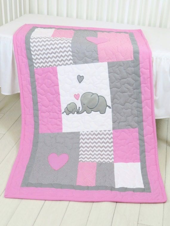 Elephant  Baby Blanket, Elephant Quilt Blanket, Pink Gray Chevron Baby Patchwork Blanket