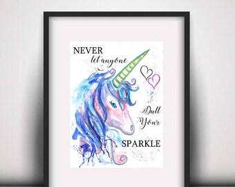 Giclee print, Unicorn quote watercolour PRINT, mystical unicorn, unicorn art, unicorn painting, unicorn decor