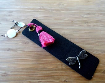 Leather Bookmark with  Dragonfly, Tassel and Beads