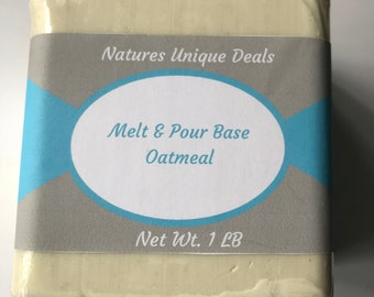 4oz - 1 lb  OATMEAL SOAP Base Melt and Pour OATMEAL Glycerine  All Natural Wholesale