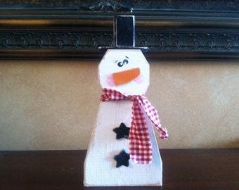 Wood Snowman -  Wood Block Snowman - Christmas decor - Seasonal home decor