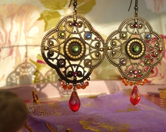 "Andalusian""drop earrings antique brass pendant, mulicolors Swarovski rhinestones, orange Crystal beads, large"
