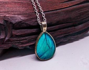 Butterfly wing necklace, Blue Teardrop pendant, Butterfly jewelry, Blue butterfly necklace, Turquoise pendant, Blue drop necklace, Summer