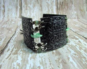 Distressed Black Metal Bracelet, Black Cuff Bracelet, Vintaj Bracelet, Turquoise Bracelet, Link Bracelet, Boho Bracelet, Boho Jewelry, 7 1/2