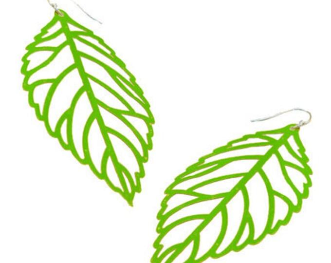 Enameled Filigree Leaf Earrings in Green Apple