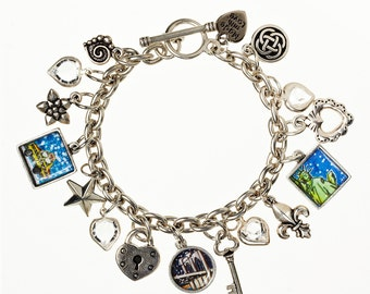 Brooklyn Bridge Charm  Bracelet. Hand made in Brooklyn. Classic Charm bracelet featuring favorite images of NYC