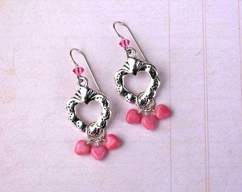 Sacred Heart Earrings, Pink Heart Earrings, Valentine Earrings, Holiday Earrings, Dangle Earrings, Valentine Jewelry, Heart Jewelry