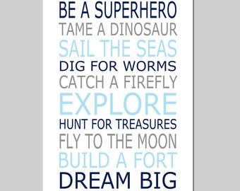 Be a Superhero Playroom Rules Baby Boy Nursery Art Quote - 13x19 Print - Choose Your Colors