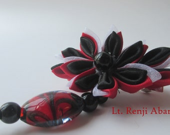 Lt. Renji Abarai Inspired Kanzashi Flower, Handmade Japanese Fabric Flower Hair Clip, Red, White, Black, Hair Jewelry, Bleach Inspired