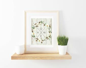 "Farmhouse Style ""Home"" Magnolia Wreath Printable"