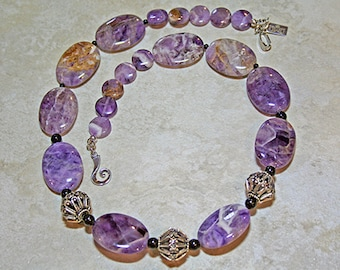 Purple Crazy Lace Sterling Silver Necklace