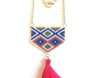 Necklace - weaving beads miyuki - pink tassel - gold chain.