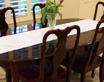 "16"" x 108"" - White Linen Hemstitch Table Runner - 100% Pure Linen - Ladder Hemstitched Cloth Table Runner - Embroidery Monogram Supplies"