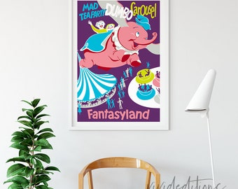 Disneyland Poster, Vintage Dumbo Carousel Attraction Poster, Nursery Art, Kids Playroom, , Home Decor, Wall Art, Buy 2 Get 1 Free
