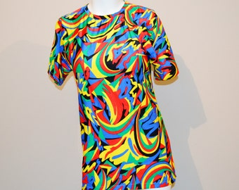Vintage Top Psychedelic Party Print 80's