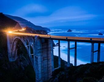 The Bixby Creek Bridge at night, in Big Sur, California. Photo Print, Metal, Canvas, Framed.