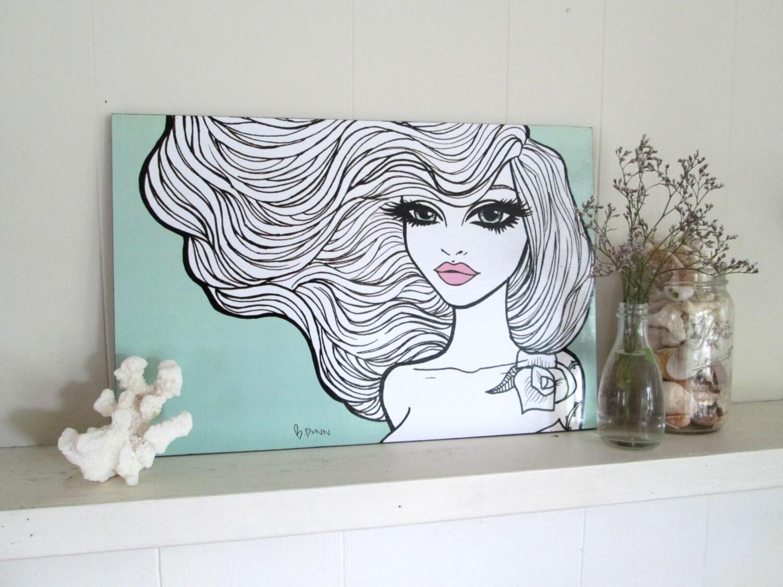 Pinup girl art print by Brenda Dunn wall art home decor