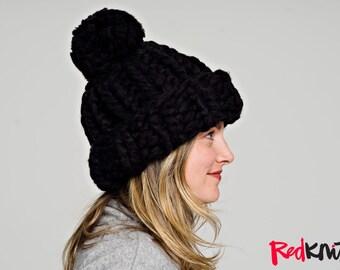 SNOWBOARDER BEANIE with POMPOM!..Vegan knit hat, hand knit, chunky knit, knit toque, knit beanie, knit hat, chunky beanie, vegan gift.