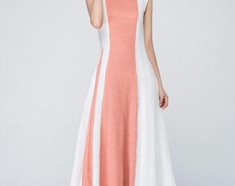 Wedding guest dress, linen dress, maxi dress, modern dress, block color dress, womens dresses, fitted dress, elegant dress , gift ideas 1560