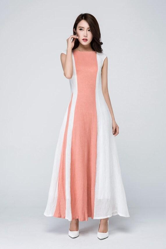Hochzeit Gast Leinen Kleid Maxi-Kleid modernes Kleid Block