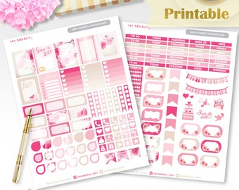 Wedding planner stickers printable for Erin Condren Life Planner Bridal planner stickers Rose pink stickers weekly set Instant download ECLP