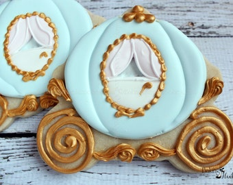 Cinderella Carriage Cookies, Cinderella Wedding, Cinderella Birthday Party, Carriage Cookies, Carriage favors, Decorated Custom Cookies