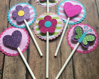 Butterfly, Flower, and Heart Cupcake Toppers