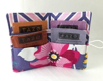 Tea Wallet - Tea Bag Wallet Tea Bag Case Tea Bag Holder - Tea Holder Tea Bag Cozy  Tea Bag Organizer Joel Dewberry Atrium Monarch in Fuschia
