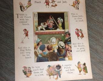 Punch and Judy Illustrated Paper Ephemera