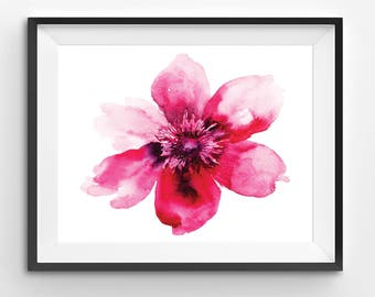 Pink Flower Print, watercolor print flower, floral watercolor, wall art print, pink printable flower, watercolor poster, kitchen decor